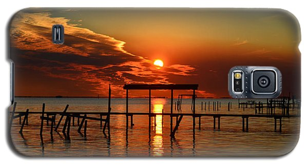 Galaxy S5 Case featuring the photograph Fiery Sunset Colors Over Santa Rosa Sound by Jeff at JSJ Photography