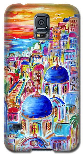 Fiery Sunset On Santorini My Way Galaxy S5 Case by Roberto Gagliardi