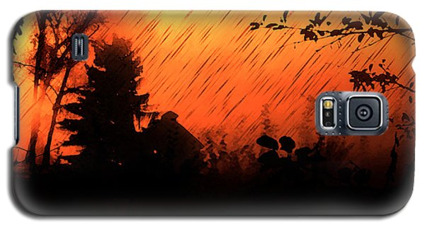 Galaxy S5 Case featuring the painting Fiery Sunset by Persephone Artworks