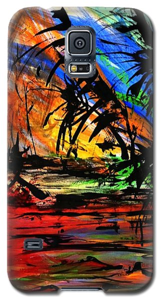 Galaxy S5 Case featuring the painting Fire And Flood by Helen Syron
