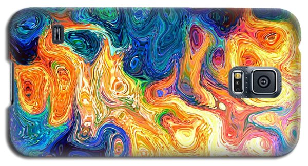 Fire And Water Abstract Art Galaxy S5 Case by Annie Zeno
