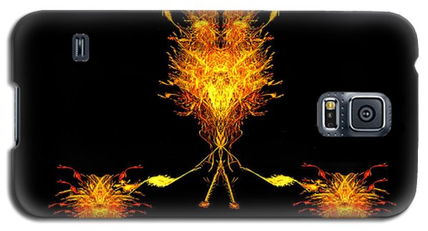 Galaxy S5 Case featuring the digital art Fire Dude Walking His Fire Dogs by R Thomas Brass