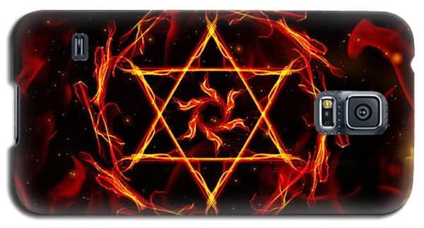 Galaxy S5 Case featuring the painting Fire Hexagram by Persephone Artworks