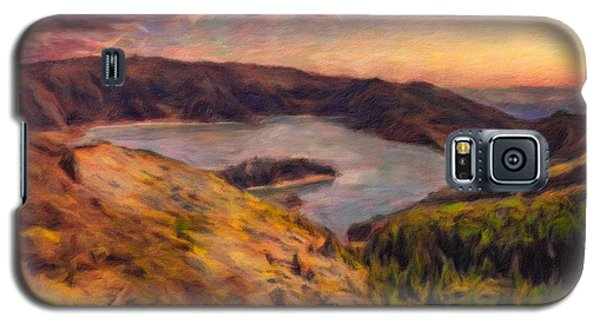 Fire Lake At Sunset Galaxy S5 Case