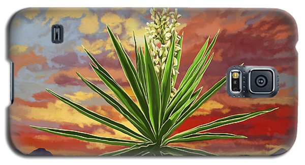 Fire Sky Desert Blooming Yucca Galaxy S5 Case by Tim Gilliland