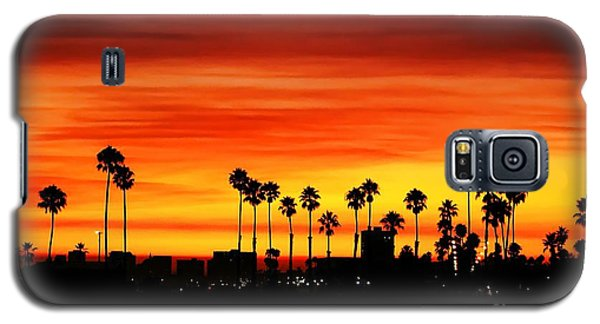 Galaxy S5 Case featuring the photograph Fire Sunset In Long Beach by Mariola Bitner