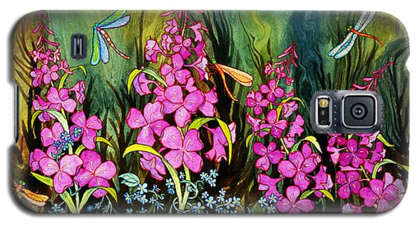 Fireweed And Dragonflies Galaxy S5 Case by Teresa Ascone