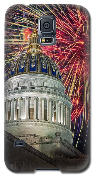 Fireworks At Wv Capitol Galaxy S5 Case by Mary Almond