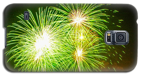 Fireworks Green And White Galaxy S5 Case by Robert Hebert