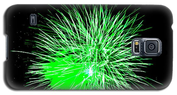 Galaxy S5 Case featuring the photograph Fireworks In Green by Michael Porchik