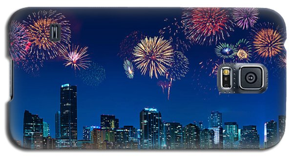 Galaxy S5 Case featuring the photograph Fireworks In Miami by Carsten Reisinger
