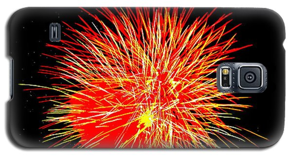 Galaxy S5 Case featuring the photograph Fireworks In Red And Yellow by Michael Porchik