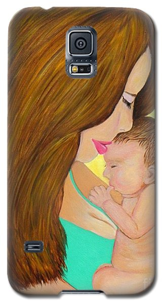 Galaxy S5 Case featuring the painting First Kiss- Mother And Newborn Baby by Shelia Kempf