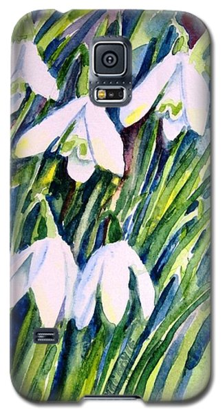 Galaxy S5 Case featuring the painting First Snowdrops Of Winter  by Trudi Doyle