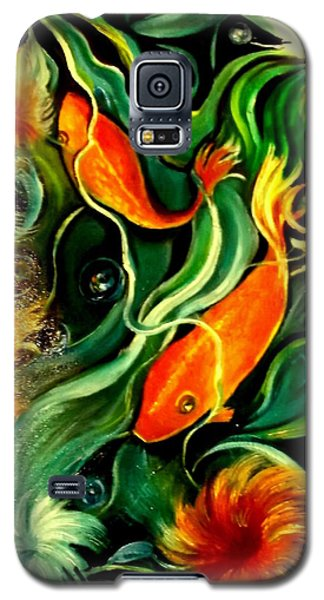 Galaxy S5 Case featuring the painting Fish Explosion by Yolanda Rodriguez