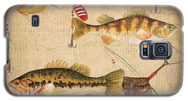 Fish Trio-a-basket Weave Border Galaxy S5 Case by Jean Plout
