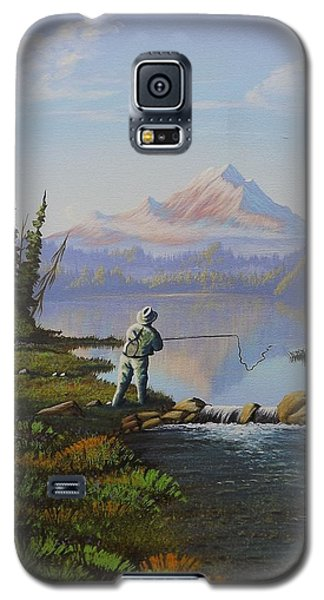 Galaxy S5 Case featuring the painting Fishing The High Lakes by Richard Faulkner