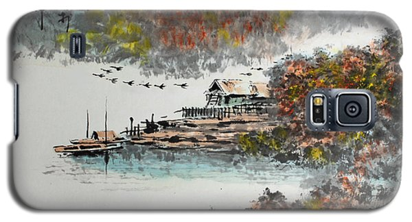 Fishing Village In Autumn Galaxy S5 Case by Yufeng Wang