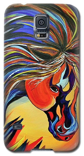 Galaxy S5 Case featuring the painting Flame Bold And Colorful War Horse by Janice Rae Pariza