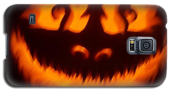 Galaxy S5 Case featuring the sculpture Flame Pumpkin by Shawn Dall