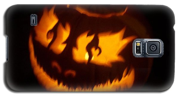 Galaxy S5 Case featuring the sculpture Flame Pumpkin Side by Shawn Dall