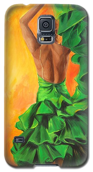 Flamenco Dancer In Green Dress Galaxy S5 Case by Sheri  Chakamian