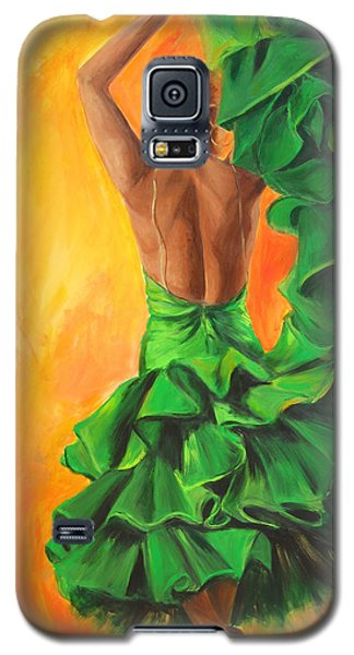 Galaxy S5 Case featuring the painting Flamenco Dancer In Green Dress by Sheri  Chakamian