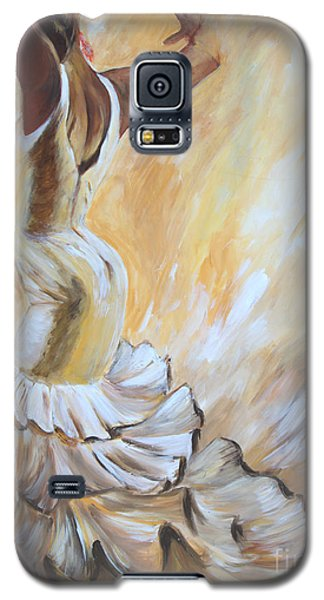 Galaxy S5 Case featuring the painting Flamenco Dancer In White Dress by Sheri  Chakamian