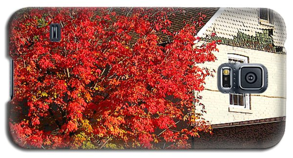 Galaxy S5 Case featuring the photograph Flaming Fall Colours On Farm House by Nina Silver