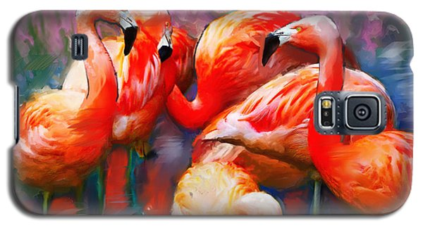 Galaxy S5 Case featuring the painting Flaming Flamingos by Ted Azriel