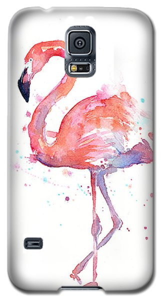 Portraits Galaxy S5 Case - Flamingo Watercolor by Olga Shvartsur