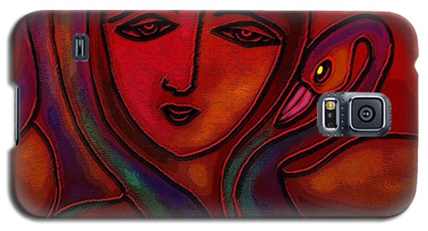 Galaxy S5 Case featuring the digital art Flamingoes- Mural Style by Latha Gokuldas Panicker