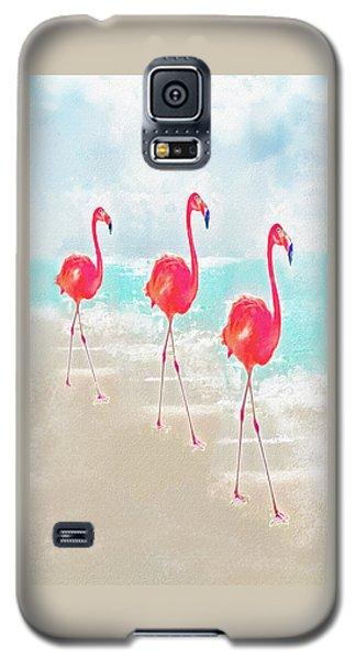 Flamingos On The Beach Galaxy S5 Case by Jane Schnetlage