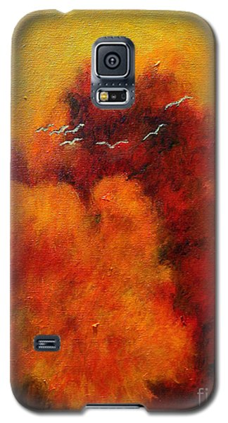 Galaxy S5 Case featuring the painting Flight Of The White Birds by Alison Caltrider