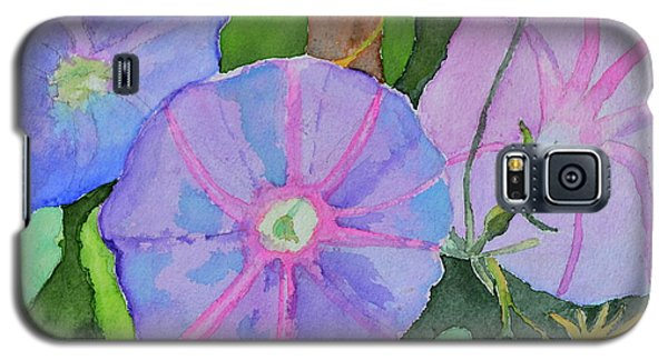 Galaxy S5 Case featuring the painting Florence's Morning Glories by Beverley Harper Tinsley