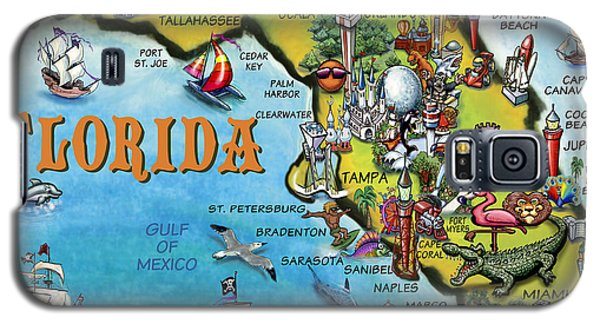 Galaxy S5 Case featuring the digital art Florida Cartoon Map by Kevin Middleton
