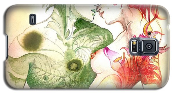Galaxy S5 Case featuring the painting Flower And Leaf by Anna Ewa Miarczynska