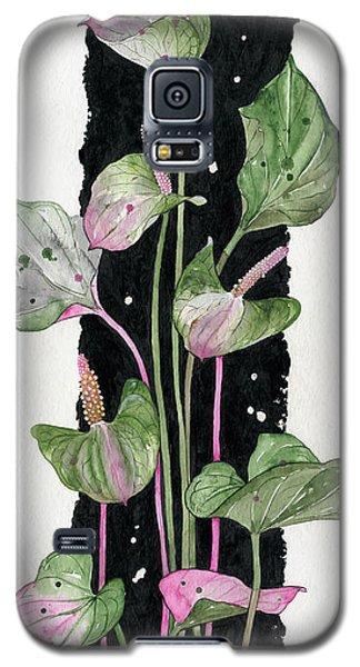 Galaxy S5 Case featuring the painting Flower Anthurium 02 Elena Yakubovich by Elena Yakubovich