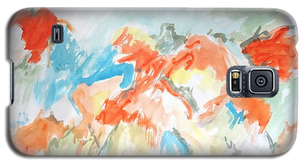 Galaxy S5 Case featuring the painting Flower Bursts by Esther Newman-Cohen