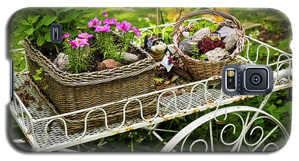 Garden Galaxy S5 Case - Flower Cart In Garden by Elena Elisseeva