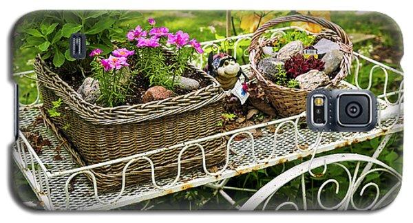 Garden Galaxy S5 Case - Flower Cart In Garden by Elena Elisseeva