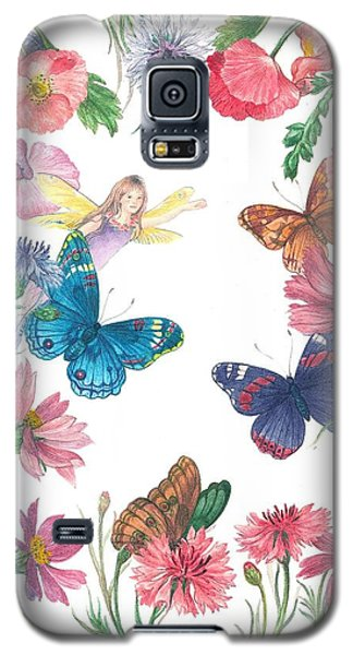 Galaxy S5 Case featuring the painting Flower Fairy Illustrated Butterfly by Judith Cheng