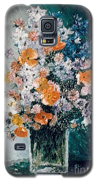 Galaxy S5 Case featuring the painting Flower Field by Sorin Apostolescu