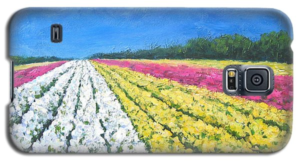Galaxy S5 Case featuring the painting Flower Fields by Cheryl Del Toro