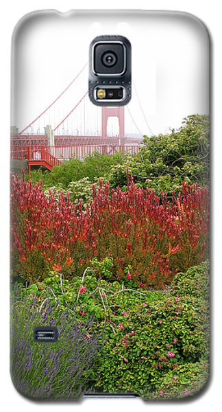Flower Garden At The Golden Gate Bridge Galaxy S5 Case by Connie Fox