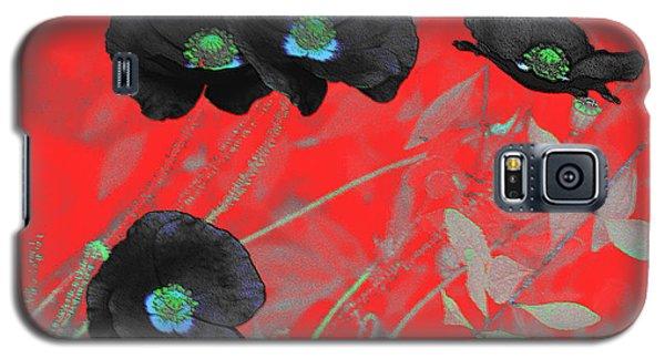 Flower Garden -  Four Black Poppies On Red Galaxy S5 Case