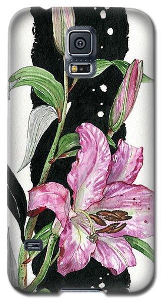 Galaxy S5 Case featuring the painting Flower Lily 02 Elena Yakubovich by Elena Yakubovich