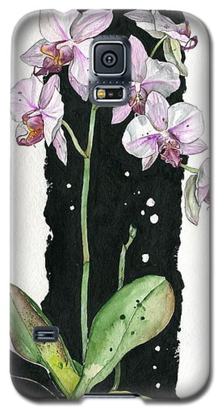Galaxy S5 Case featuring the painting Flower Orchid 02 Elena Yakubovich by Elena Yakubovich