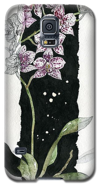 Galaxy S5 Case featuring the painting Flower Orchid 04 Elena Yakubovich by Elena Yakubovich