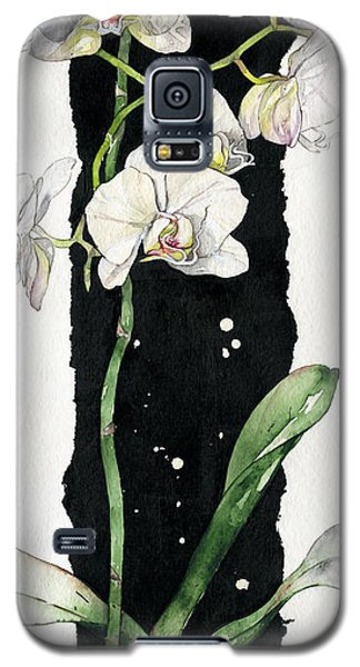 Galaxy S5 Case featuring the painting Flower Orchid 05 Elena Yakubovich by Elena Yakubovich